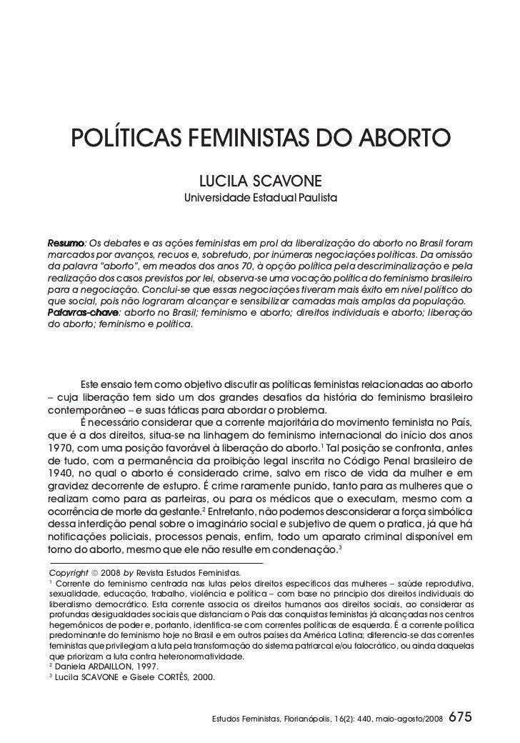 POLÍTICAS FEMINISTAS DO ABORTO                                      LUCILA SCAVONE                                   Unive...