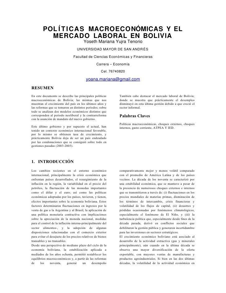 Políticas macroeconómicas y mercado laboral