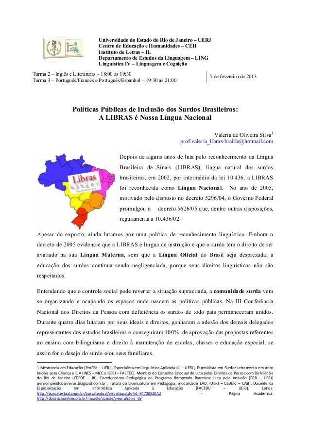 Universidade do Estado do Rio de Janeiro – UERJ                                     Centro de Educação e Humanidades – CEH...