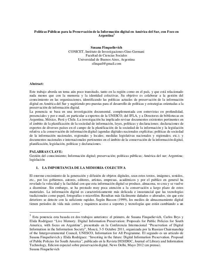 Políticas Públicas para la Preservación de la Información digital en América del Sur, con Foco en                         ...