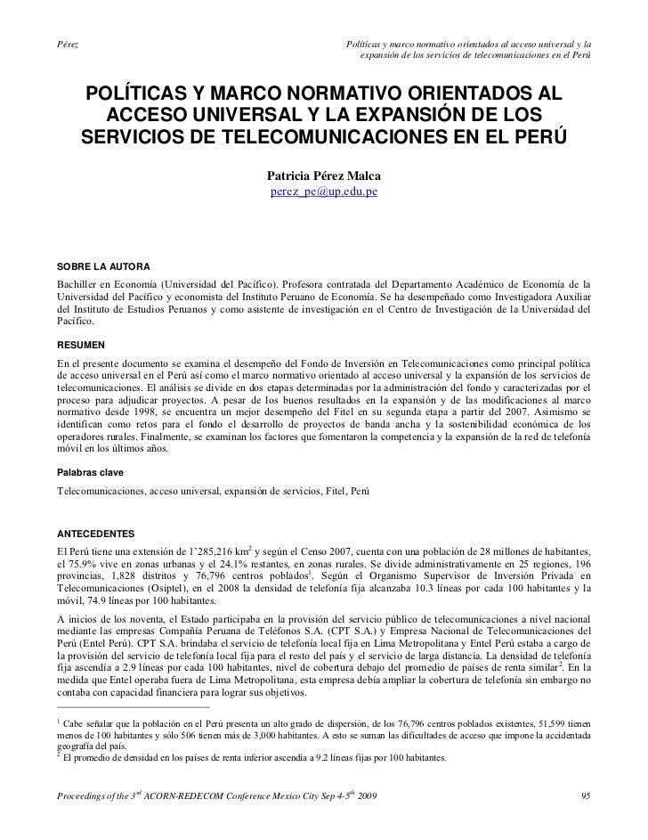 Pérez                                                                     Políticas y marco normativo orientados al acceso...