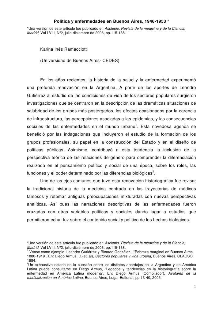 Política y enfermedades en Buenos Aires, 1946-1953 * *Una versión de este artículo fue publicado en Asclepio. Revista de l...