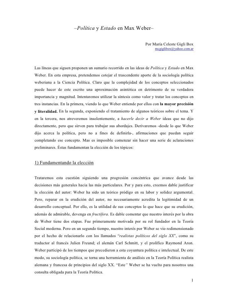 –Política y Estado en Max Weber–                                                                     Por María Celeste Gig...
