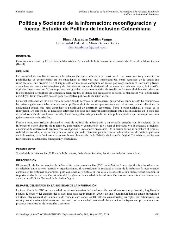 Cubillos Vargas                                         Política y Sociedad de la Información: Reconfiguración y Fuerza. E...