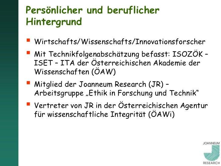 Persönlicher und beruflicherHintergrund Wirtschafts/Wissenschafts/Innovationsforscher Mit Technikfolgenabschätzung befas...