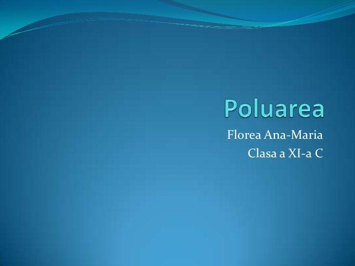 Poluarea<br />Florea Ana-Maria<br />Clasa a XI-a C<br />