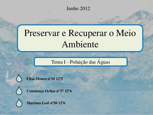 Preservar e Recuperar o Meio Ambiente Junho 2012 Tema I - Poluição das Águas Elisa Moura nº10 12º5 Constança Ochoa nº17 12...