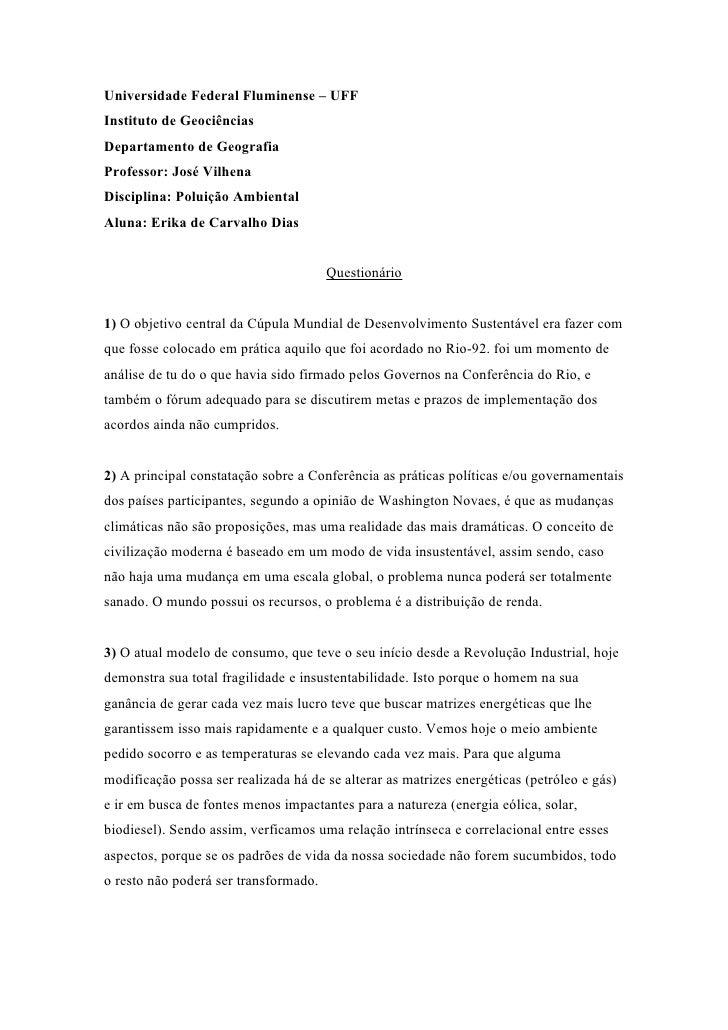 Universidade Federal Fluminense – UFFInstituto de GeociênciasDepartamento de GeografiaProfessor: José VilhenaDisciplina: P...