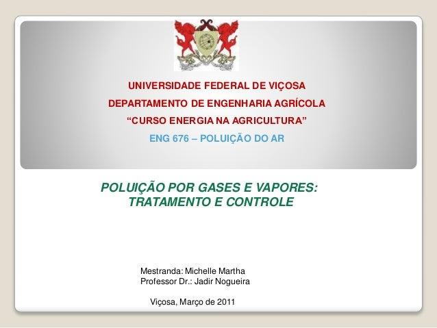 """UNIVERSIDADE FEDERAL DE VIÇOSA  DEPARTAMENTO DE ENGENHARIA AGRÍCOLA  """"CURSO ENERGIA NA AGRICULTURA""""  ENG 676 – POLUIÇÃO DO..."""
