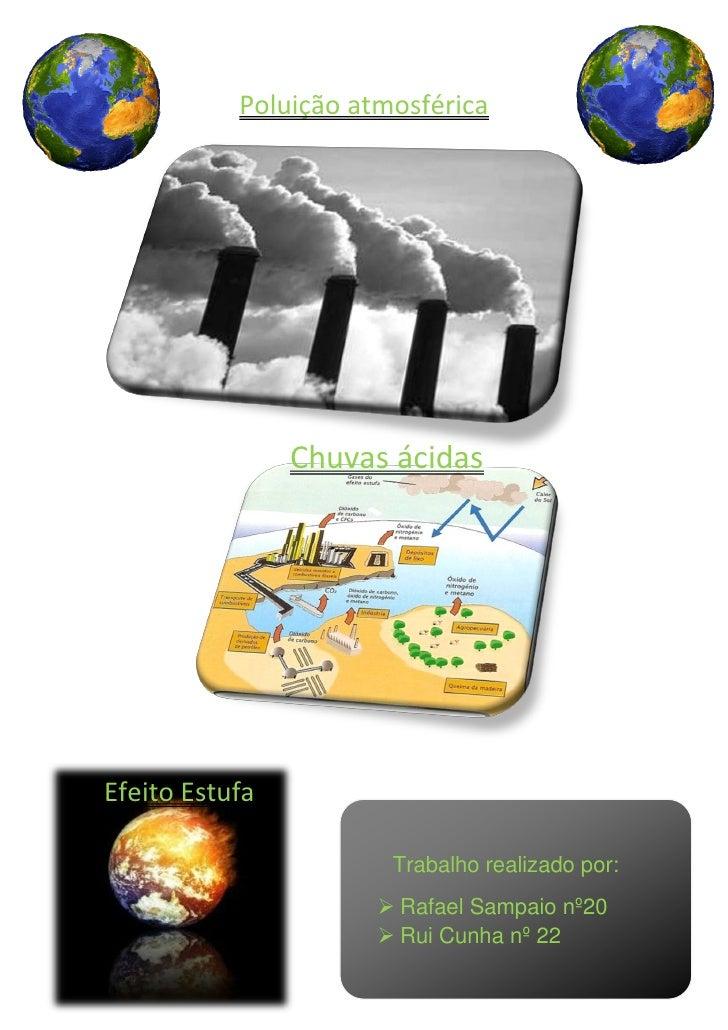 Poluição atmosférica                     Chuvas ácidas     Efeito Estufa                         Trabalho realizado por:  ...