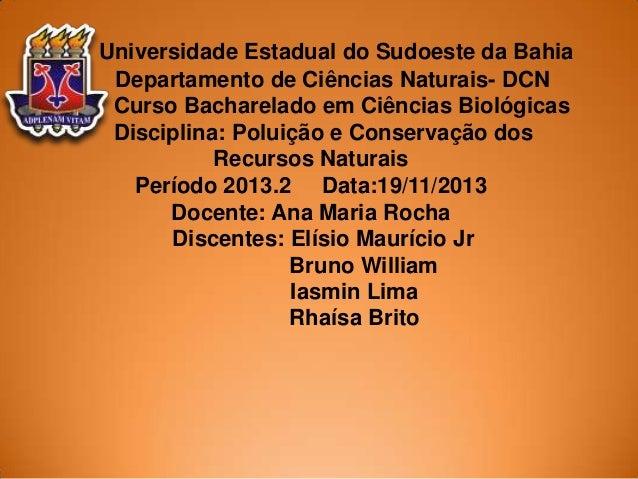Universidade Estadual do Sudoeste da Bahia Departamento de Ciências Naturais- DCN Curso Bacharelado em Ciências Biológicas...