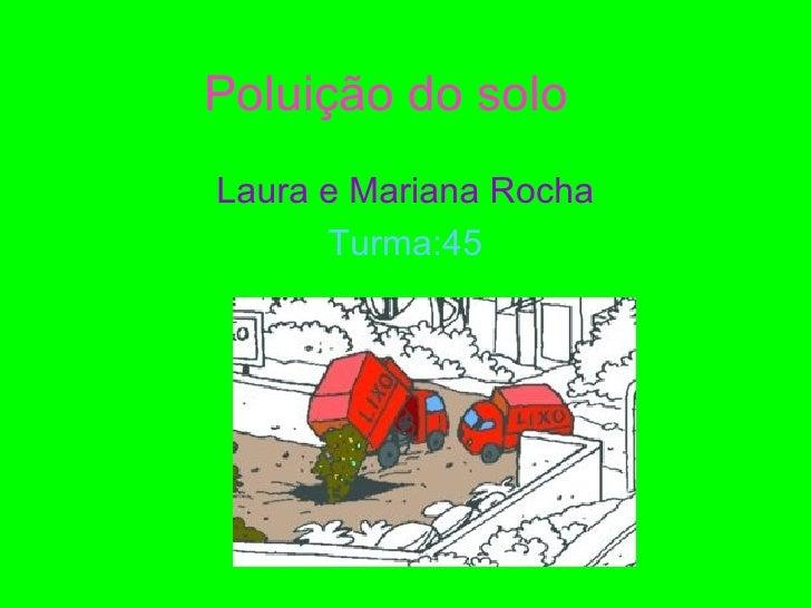 Poluição do soloLaura e Mariana Rocha      Turma:45