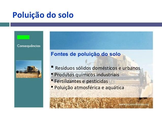 Poluição do solo          Fontes de poluição do solo           Resíduos sólidos domésticos e urbanos           Produtos ...