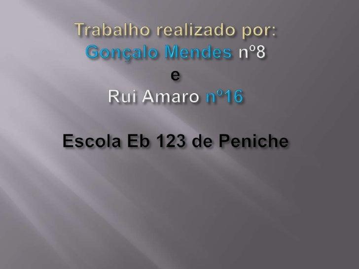 Trabalho realizado por: GonçaloMendes nº8eRui Amaro nº16Escola Eb 123 de Peniche<br />