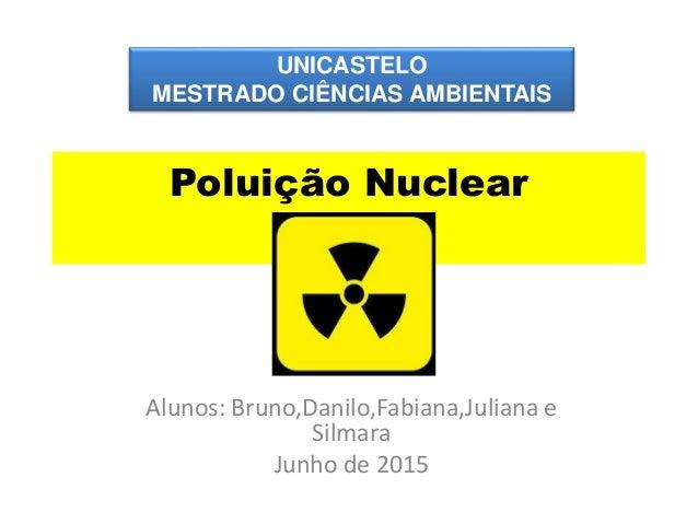 Poluição Nuclear Alunos: Bruno,Danilo,Fabiana,Juliana e Silmara Junho de 2015 UNICASTELO MESTRADO CIÊNCIAS AMBIENTAIS