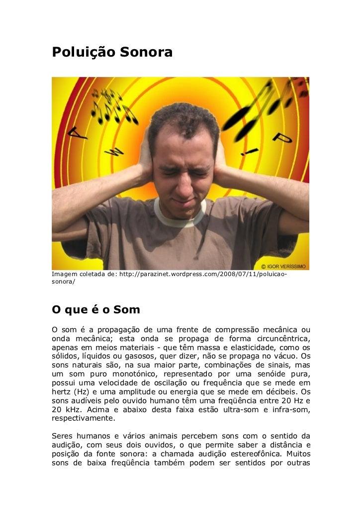 Poluição Sonora     Imagem coletada de: http://parazinet.wordpress.com/2008/07/11/poluicao- sonora/    O que é o Som O som...