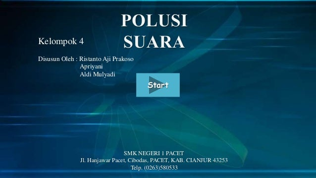 Kelompok 4 Disusun Oleh : Ristanto Aji Prakoso Apriyani Aldi Mulyadi  Start  SMK NEGERI 1 PACET Jl. Hanjawar Pacet, Ciboda...