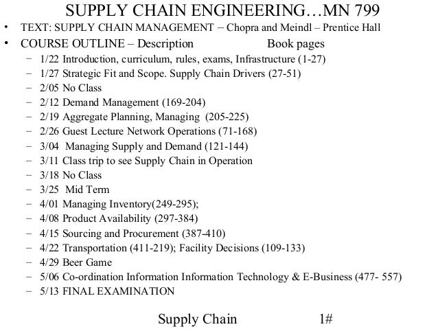SUPPLY CHAIN ENGINEERING…MN 799•   TEXT: SUPPLY CHAIN MANAGEMENT – Chopra and Meindl – Prentice Hall•   COURSE OUTLINE – D...