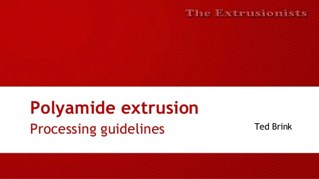 Polyamide extrusion Processing guidelines Ted Brink