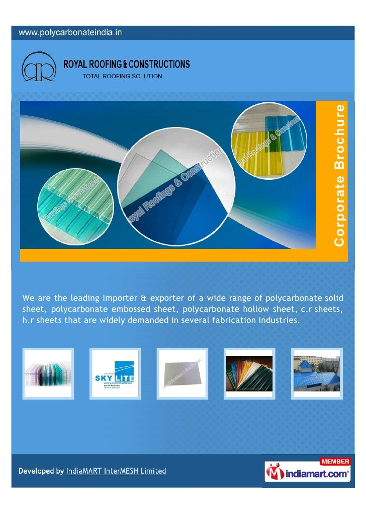 We are the leading Importer & exporter of a wide range of polycarbonate solidsheet, polycarbonate embossed sheet, polycarb...