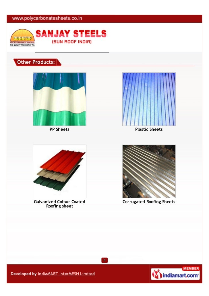Other Products:             PP Sheets                Plastic Sheets      Galvanized Colour Coated   Corrugated Roofing She...