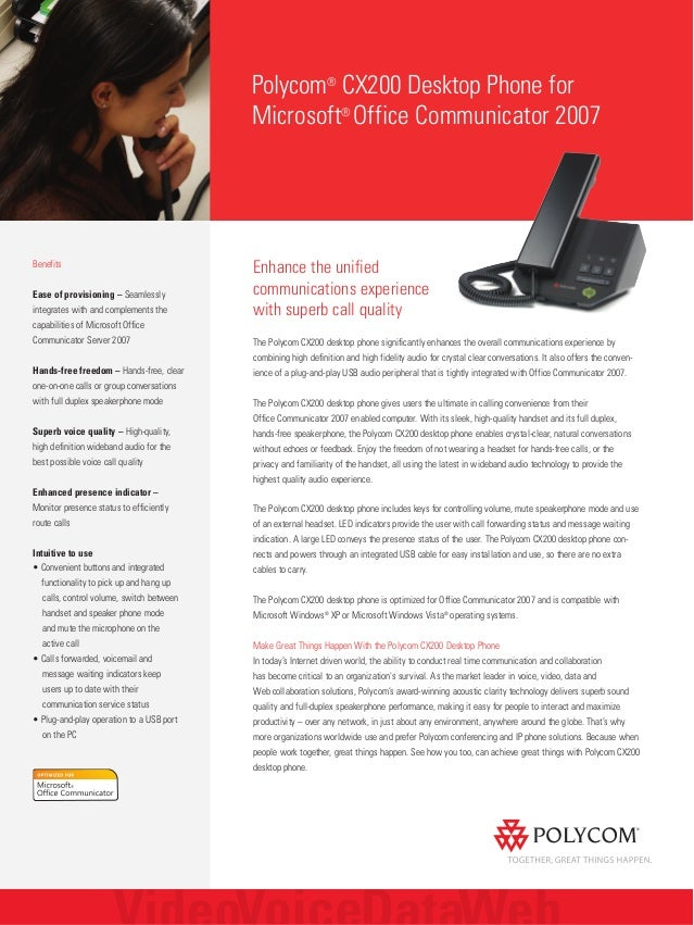 Enhance the unified communications experience with superb call quality The Polycom CX200 desktop phone significantly enhan...