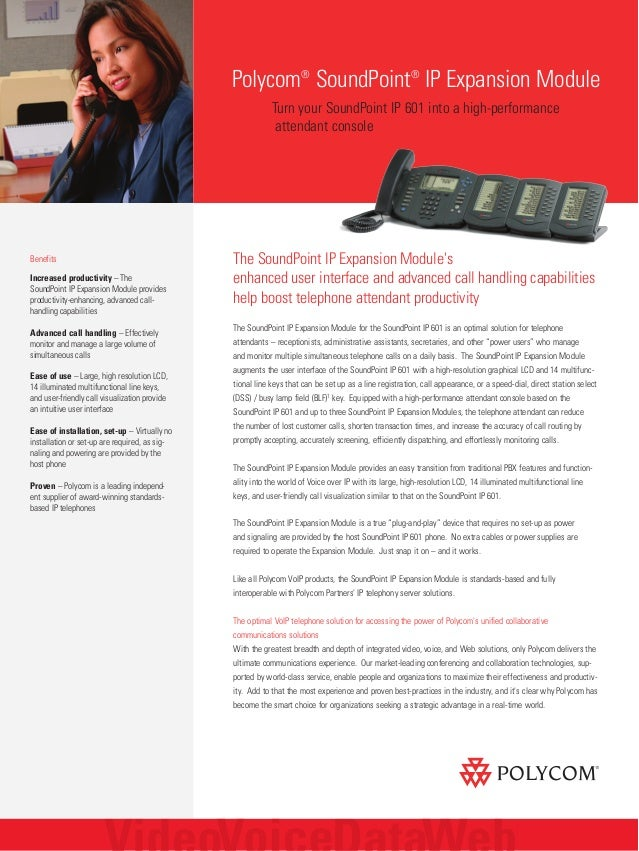The SoundPoint IP Expansion Module's enhanced user interface and advanced call handling capabilities help boost telephone ...