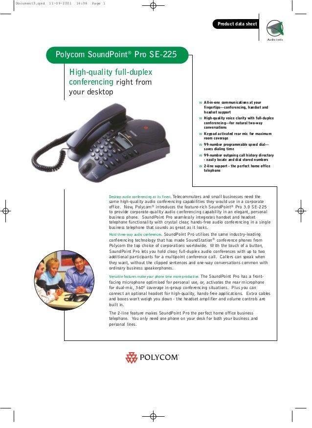 polycom soundpoint pro data sheet rh slideshare net polycom soundpoint pro se-225 corded phone manual Polycom SoundStation
