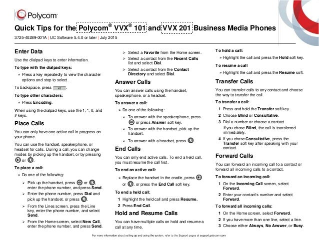 Quick Tips for the Polycom® VVX® 101 and VVX 201 Business Media Phones 3725-40289-001A | UC Software 5.4.0 or later | July...