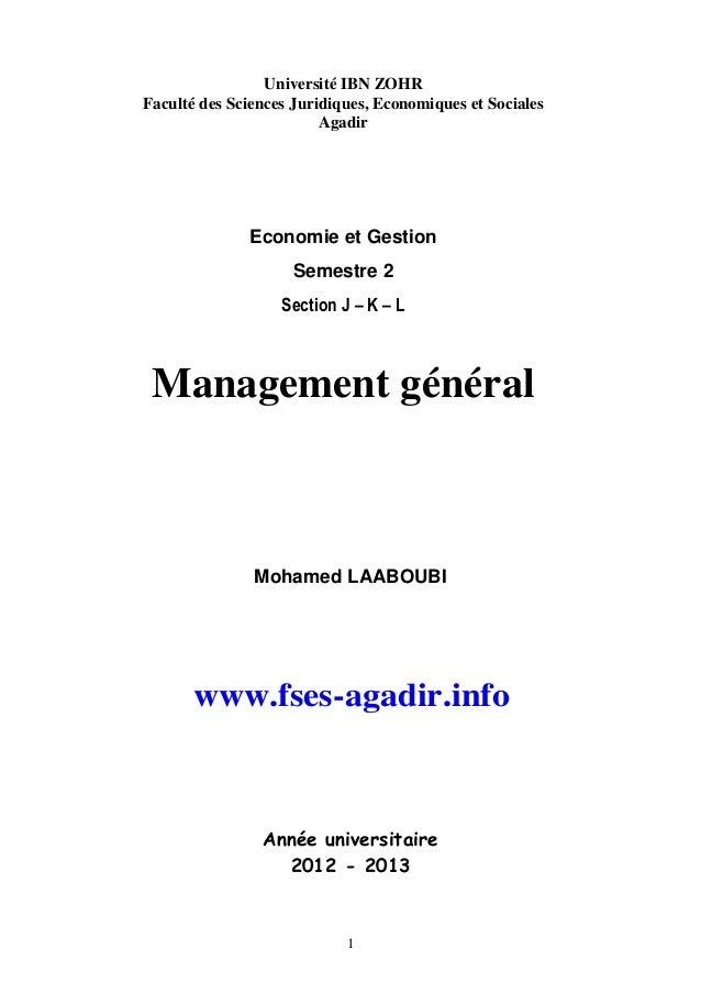 Université IBN ZOHR Faculté des Sciences Juridiques, Economiques et Sociales Agadir  Economie et Gestion Semestre 2 Sectio...