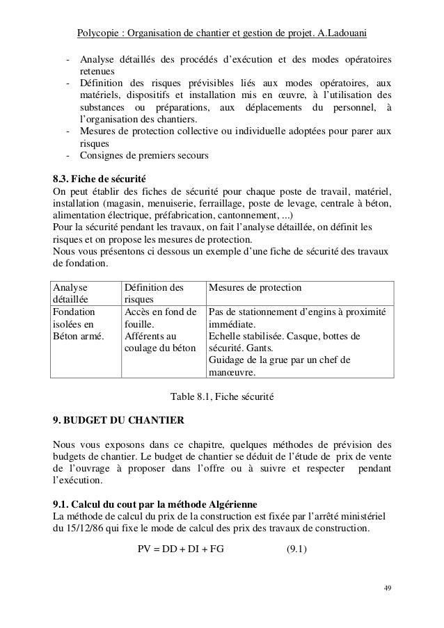 Organisation Et Gestion De Chantier
