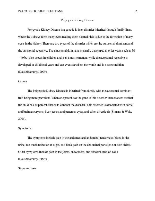Essay on Polycystic Kidney Disease