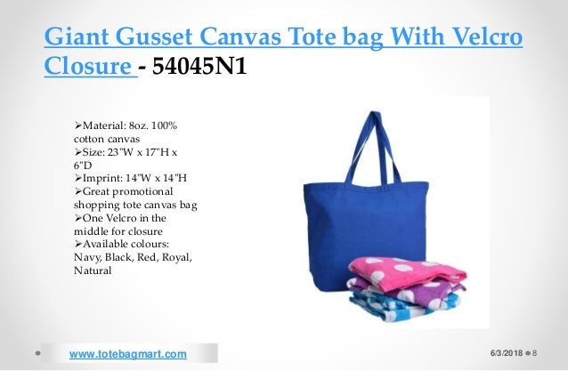... Natural www.totebagmart.com  8. 6 3 2018 8 Giant Gusset Canvas Tote bag  With Velcro Closure ... aceecc78af421