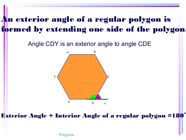 Polygons for Exterior angle of a regular octagon