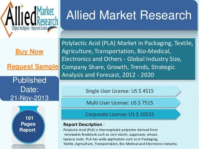 Allied Market Research Polylactic Acid (PLA) Market in Packaging, Textile, Agriculture, Transportation, Bio-Medical, Buy N...