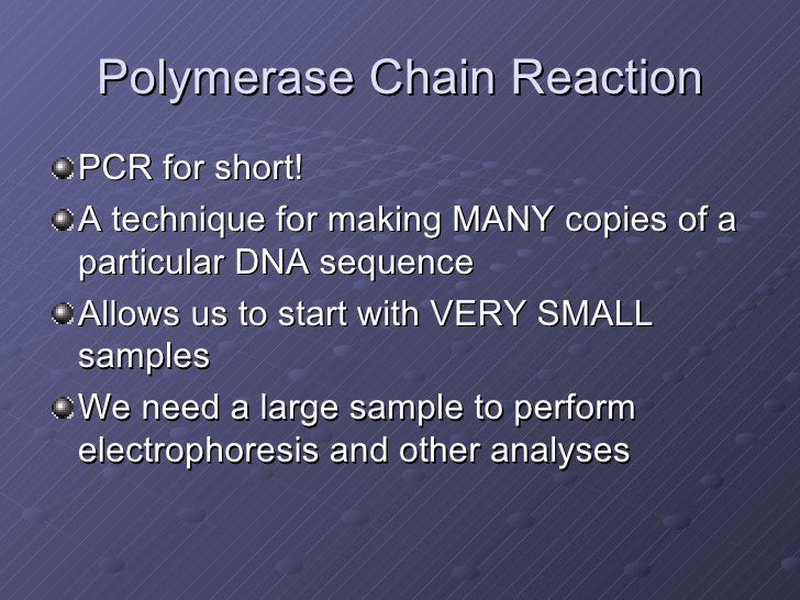 an introduction to polymerase chain reaction The 3-d version of pcr from the dna learning center puts you right down in the  eppendorf  introduction to biotechnology: an essential curriculum, page 1.