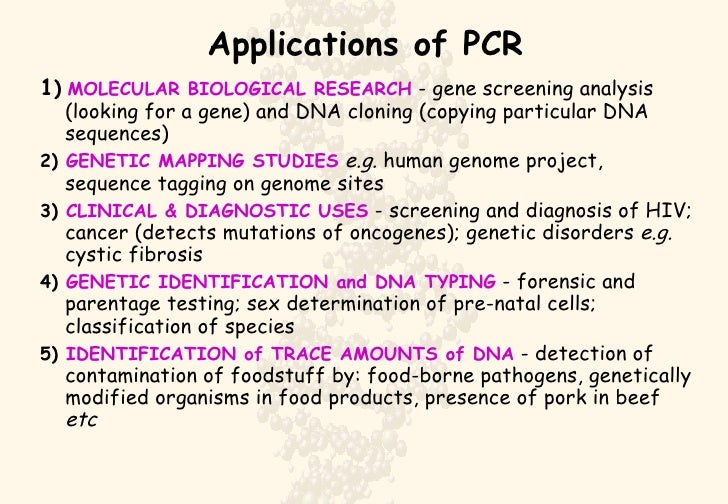 polymerase chain reaction pcr essay The polymerase chain reaction (pcr) is a reaction with which parts of dna are duplicated by an enzyme called polymerase the reaction can be divided in three main steps, denaturation, annealing the reaction can be divided in three main steps, denaturation, annealing.