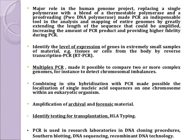 <ul><li>Major role in the human genome project, replacing a single polymerase with a blend of a thermostable polymerase an...