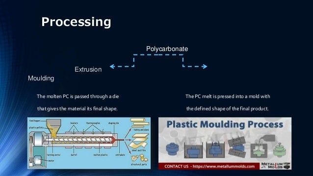 Processing Polycarbonate Extrusion Moulding The molten PC is passed through a die The PC melt is pressed into a mold with ...