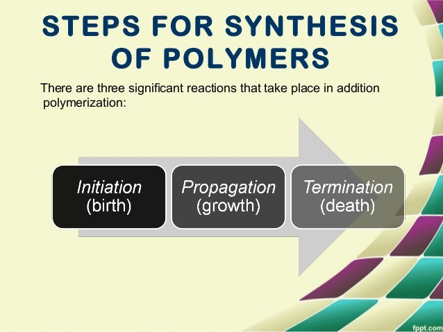CONT…. • The first step in chain polymerization- Initiation involves the formation of a free radical. Addition can occur a...