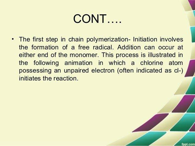 3. TERMINATION • Termination of reaction is nothing but stop the further propagation of chain. • In theory, the propagatio...
