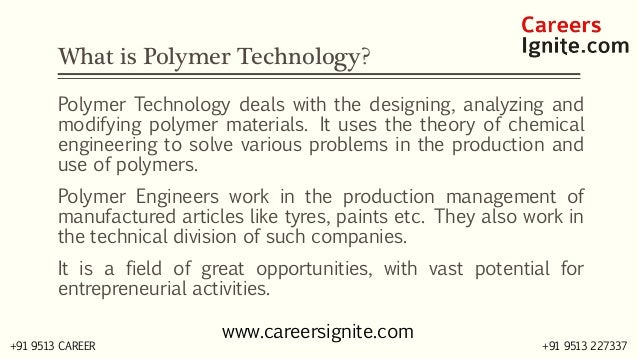 Polymer Technology Courses, Colleges, Eligibility Slide 2