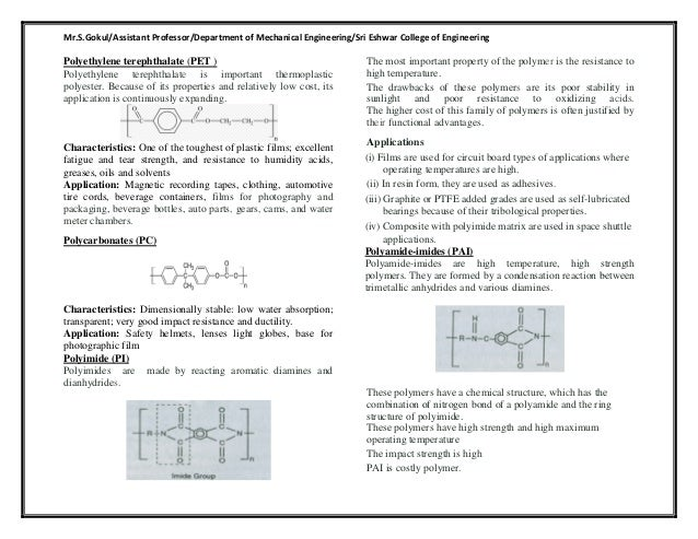 ME6403 -EMM - Polymer types and polymer synthesis