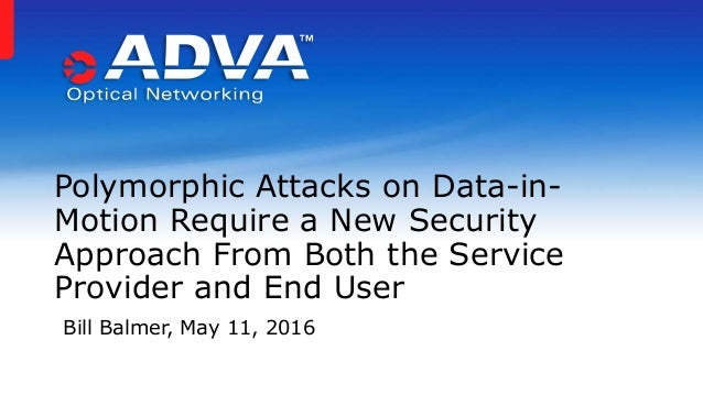 Polymorphic Attacks on Data-in- Motion Require a New Security Approach From Both the Service Provider and End User Bill Ba...