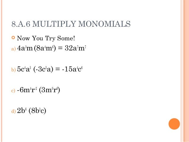 Polynomials – Multiplying Monomials and Polynomials Worksheet