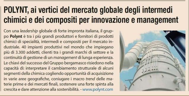Polynt ai vertici del mercato globale degli intermedi chimici e dei compositi per innovazione e management - Inserto Berga...