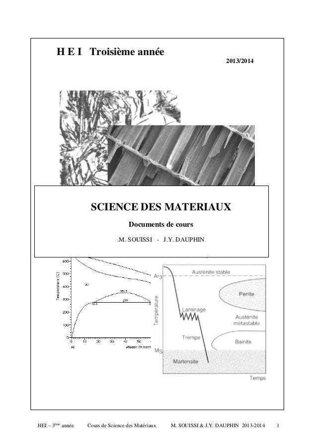 H E I Troisième année 2013/2014  SCIENCE DES MATERIAUX Documents de cours .M. SOUISSI - J.Y. DAUPHIN  HEI – 3ème année  Co...
