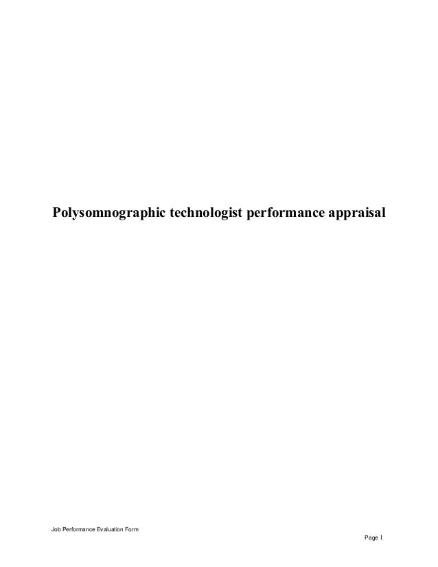 Polysomnographic Technologist Performance Appraisal Job Evaluation Form Page 1
