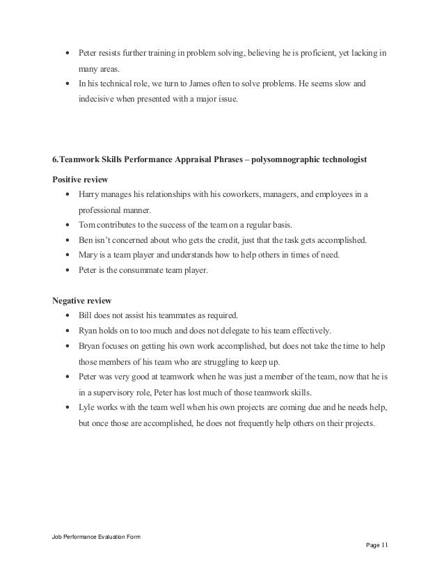 Job Performance Evaluation Form Page 10 11
