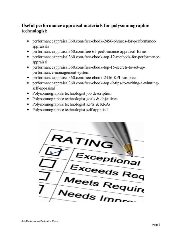 Polysomnographic Technologist Performance Appraisal Job Evaluation Form Page 1 2